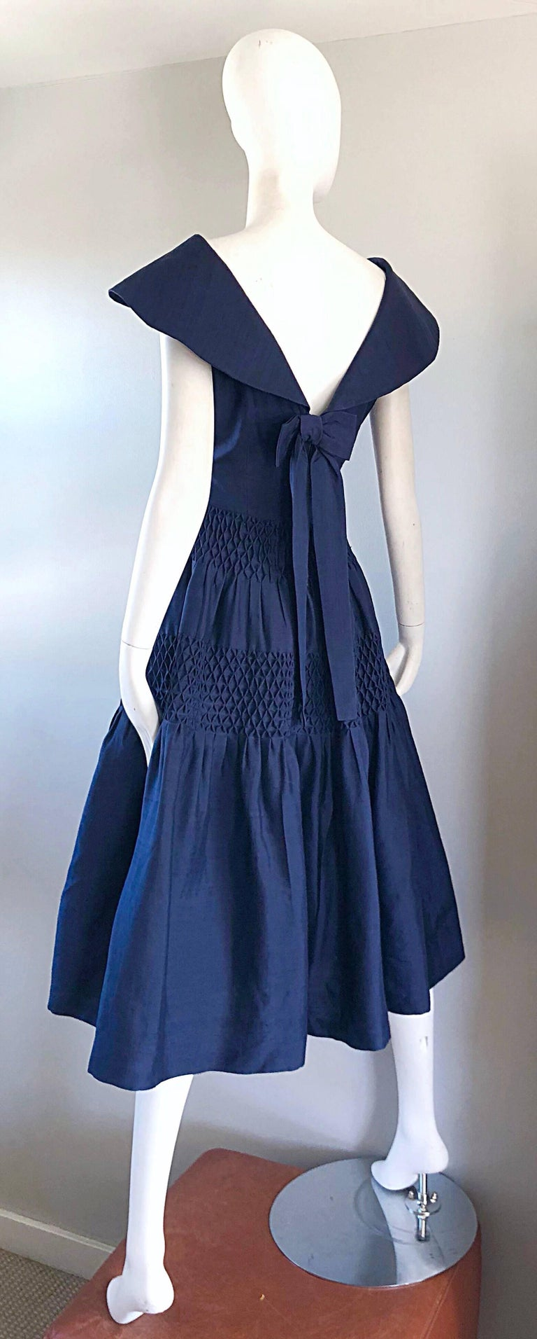 1950s Demi Couture Navy Blue Silk Shantung Vintage 50s Nautical Dress For Sale 8
