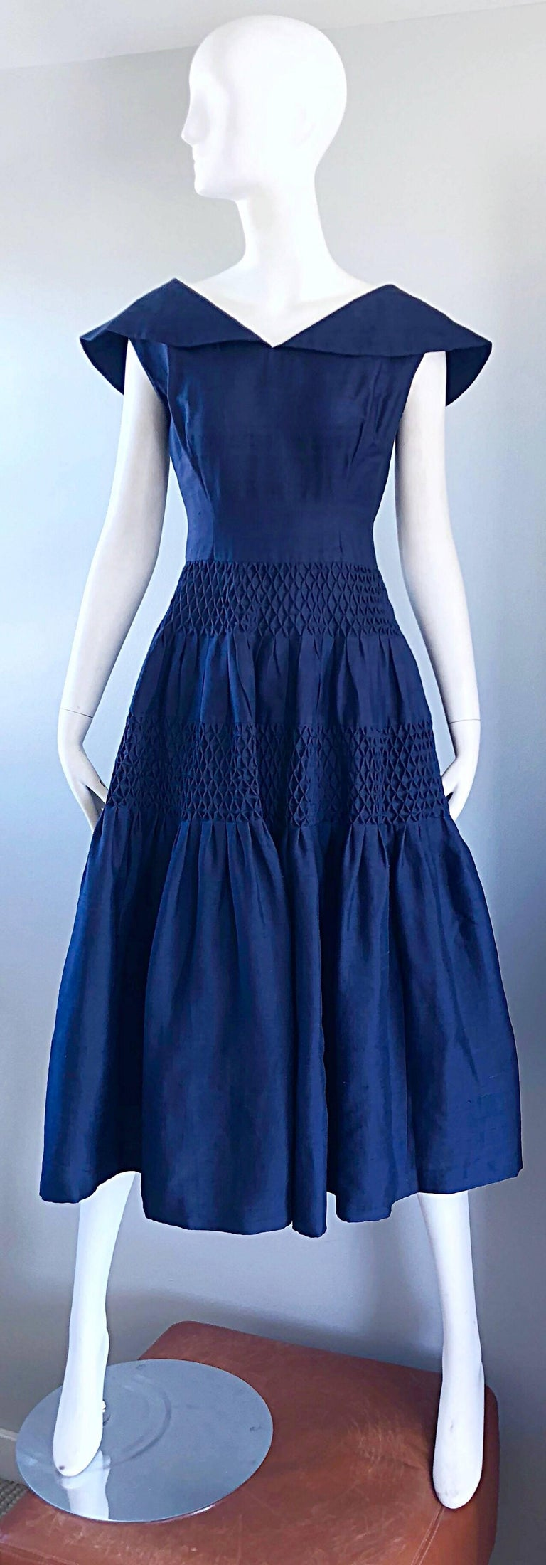 1950s Demi Couture Navy Blue Silk Shantung Vintage 50s Nautical Dress For Sale 9
