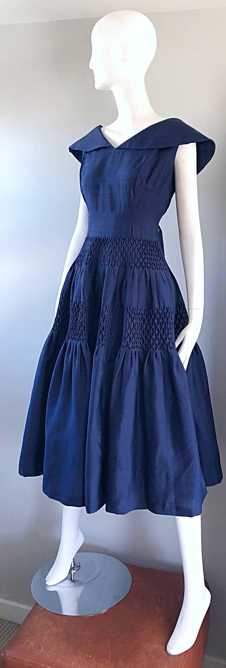 1950s Demi Couture Navy Blue Silk Shantung Vintage 50s Nautical Dress For Sale 1