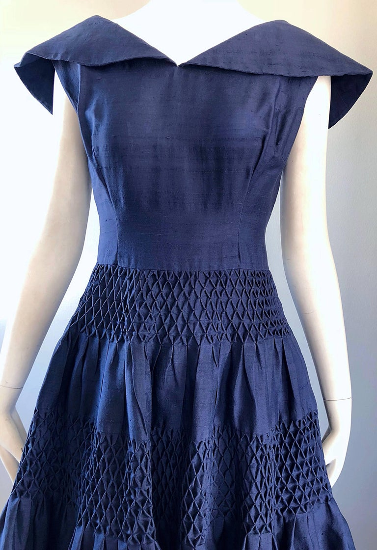 1950s Demi Couture Navy Blue Silk Shantung Vintage 50s Nautical Dress For Sale 2