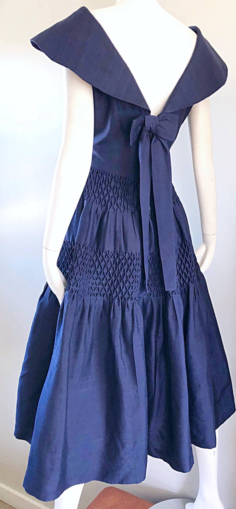1950s Demi Couture Navy Blue Silk Shantung Vintage 50s Nautical Dress For Sale 3