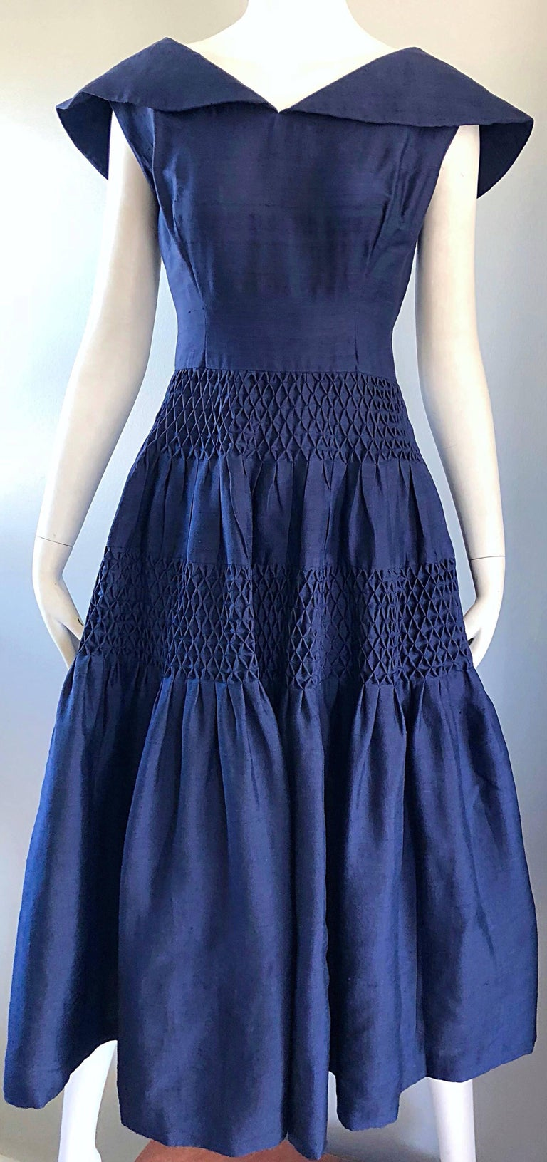 1950s Demi Couture Navy Blue Silk Shantung Vintage 50s Nautical Dress For Sale 4