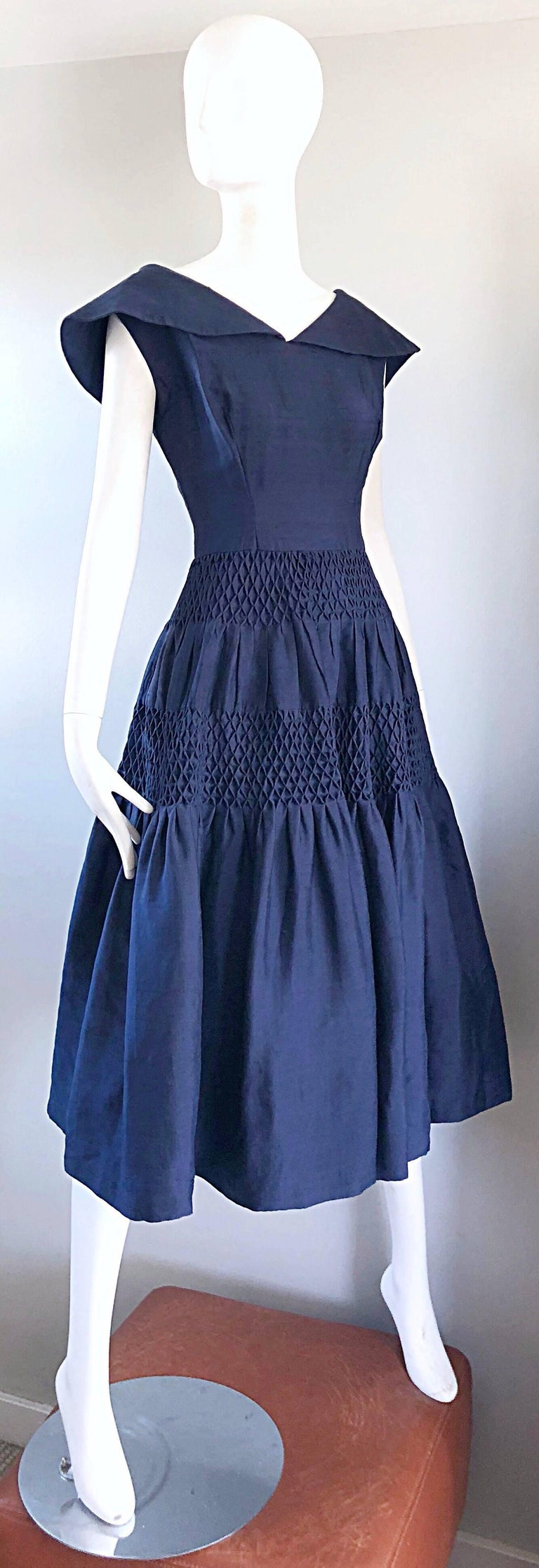 1950s Demi Couture Navy Blue Silk Shantung Vintage 50s Nautical Dress For Sale 5