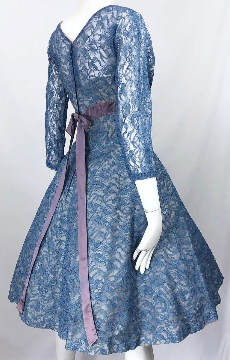 1950s Demi Couture Periwinkle Blue Chantily Lace Fit n' Flare Vintage 50s Dress For Sale 6