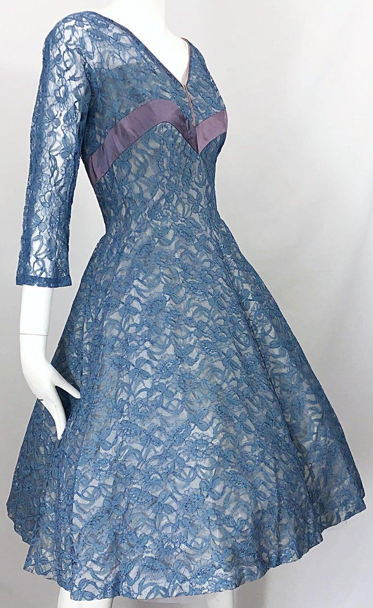 1950s Demi Couture Periwinkle Blue Chantily Lace Fit n' Flare Vintage 50s Dress For Sale 7