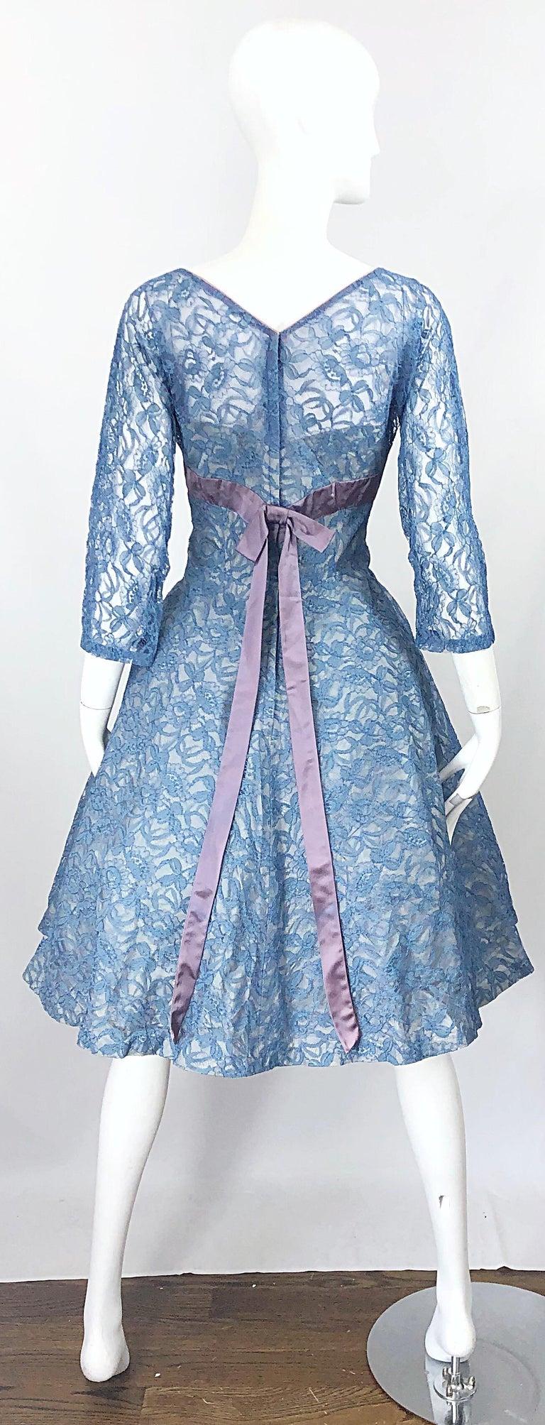 1950s Demi Couture Periwinkle Blue Chantily Lace Fit n' Flare Vintage 50s Dress For Sale 8