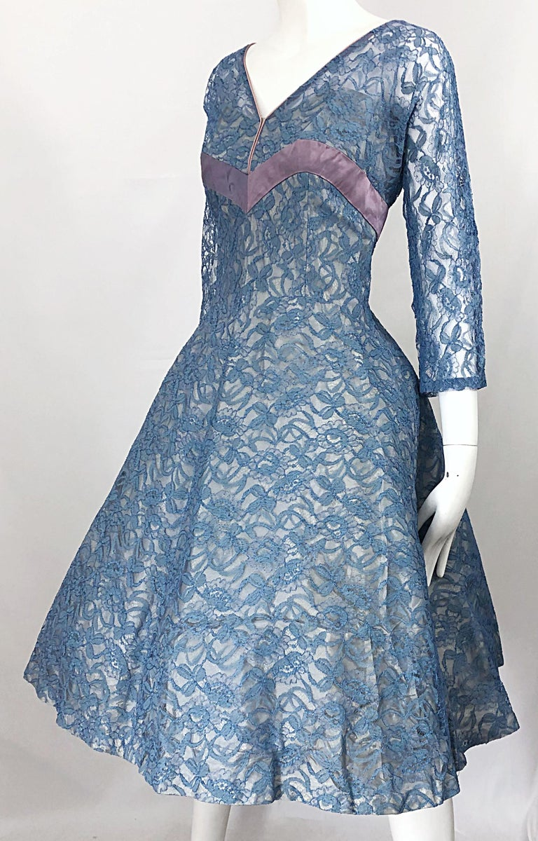 1950s Demi Couture Periwinkle Blue Chantily Lace Fit n' Flare Vintage 50s Dress For Sale 1