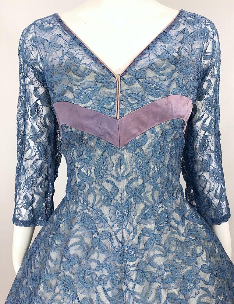 1950s Demi Couture Periwinkle Blue Chantily Lace Fit n' Flare Vintage 50s Dress For Sale 2