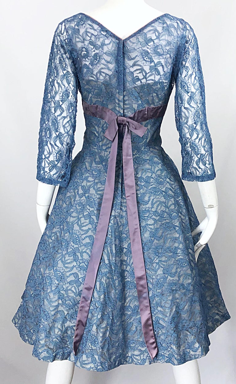 1950s Demi Couture Periwinkle Blue Chantily Lace Fit n' Flare Vintage 50s Dress For Sale 3