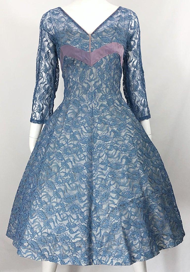 1950s Demi Couture Periwinkle Blue Chantily Lace Fit n' Flare Vintage 50s Dress For Sale 4