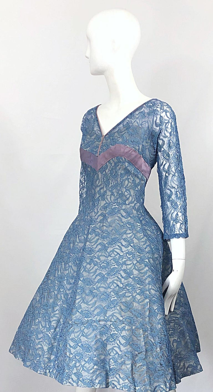 1950s Demi Couture Periwinkle Blue Chantily Lace Fit n' Flare Vintage 50s Dress For Sale 5