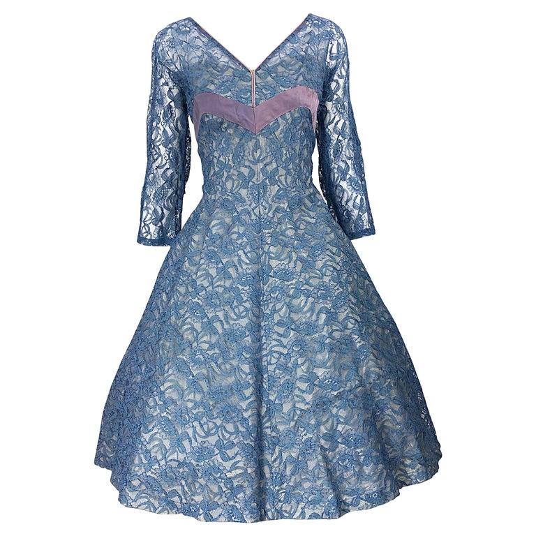 1950s Demi Couture Periwinkle Blue Chantily Lace Fit n' Flare Vintage 50s Dress For Sale