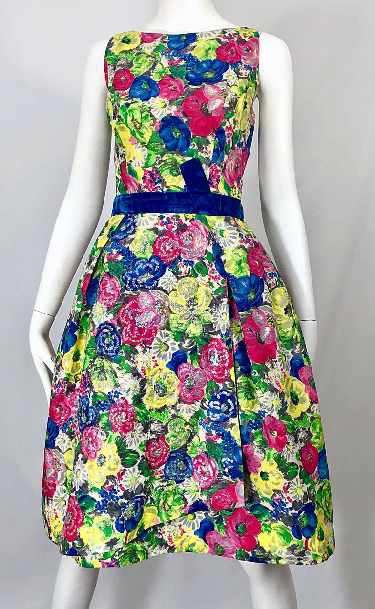 1950s Demi Couture Sequined Watercolor Floral Silk Fit n' Flare Vintage Dress For Sale 5