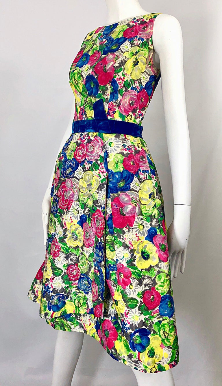 1950s Demi Couture Sequined Watercolor Floral Silk Fit n' Flare Vintage Dress For Sale 6