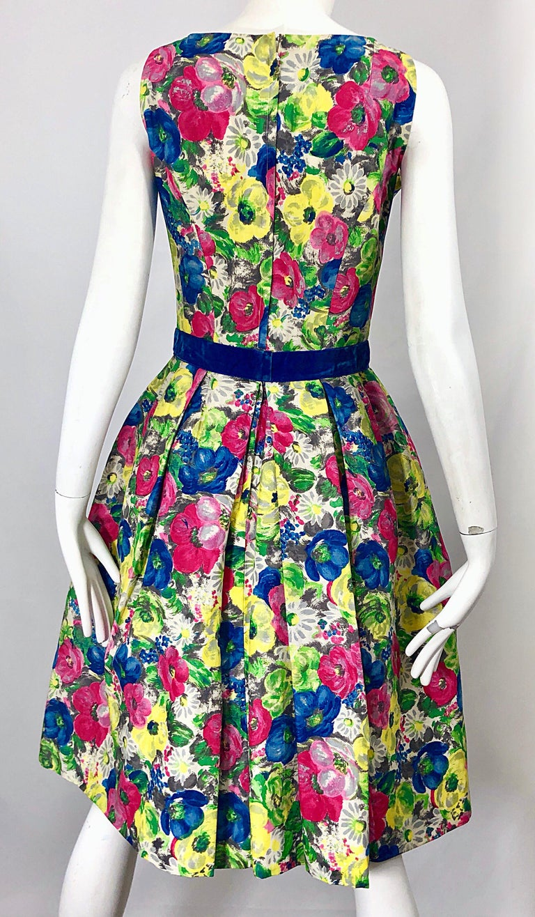 1950s Demi Couture Sequined Watercolor Floral Silk Fit n' Flare Vintage Dress For Sale 7