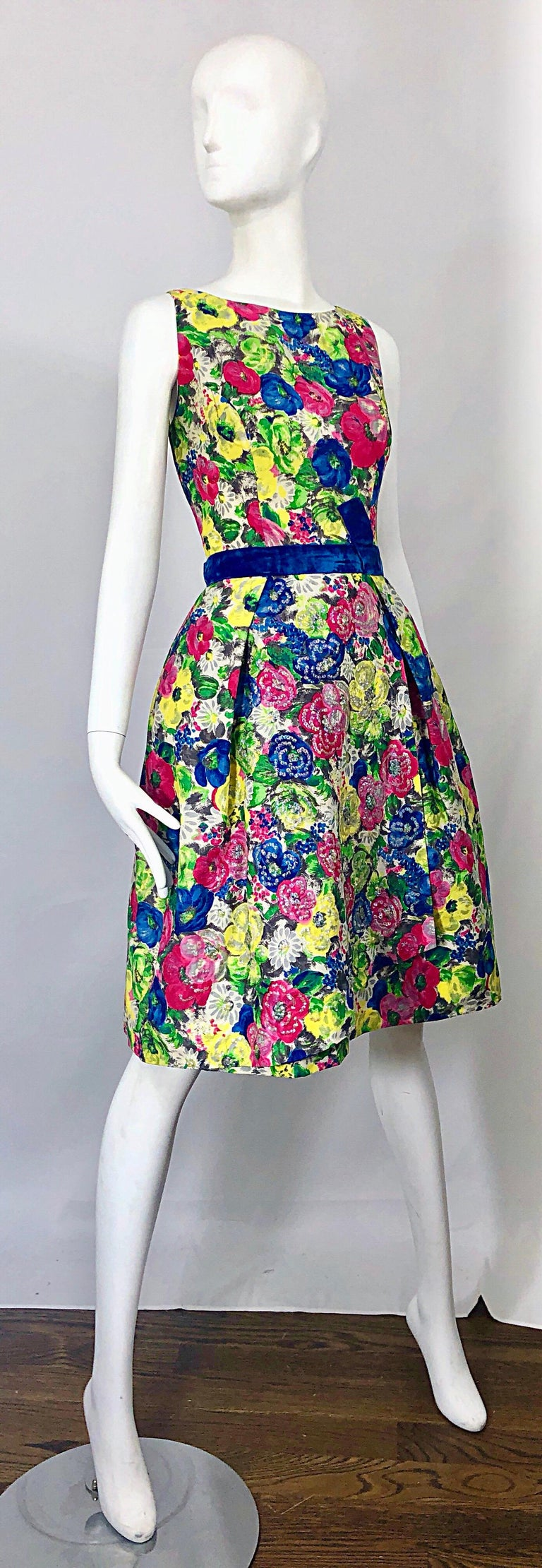 1950s Demi Couture Sequined Watercolor Floral Silk Fit n' Flare Vintage Dress For Sale 8