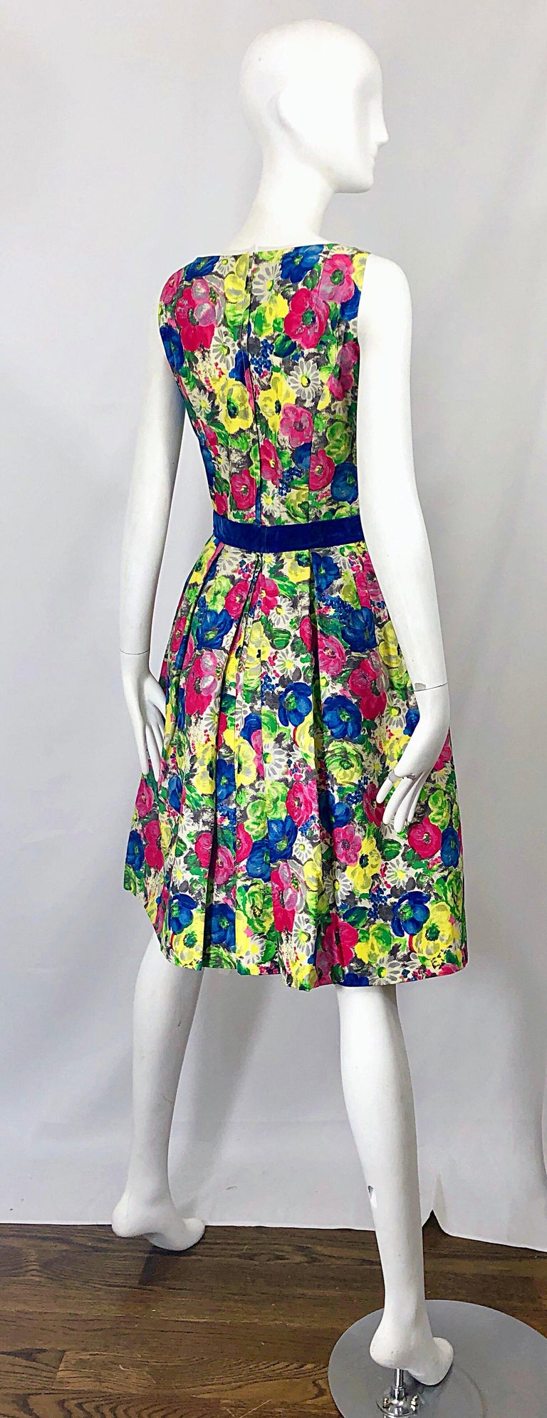 1950s Demi Couture Sequined Watercolor Floral Silk Fit n' Flare Vintage Dress For Sale 9