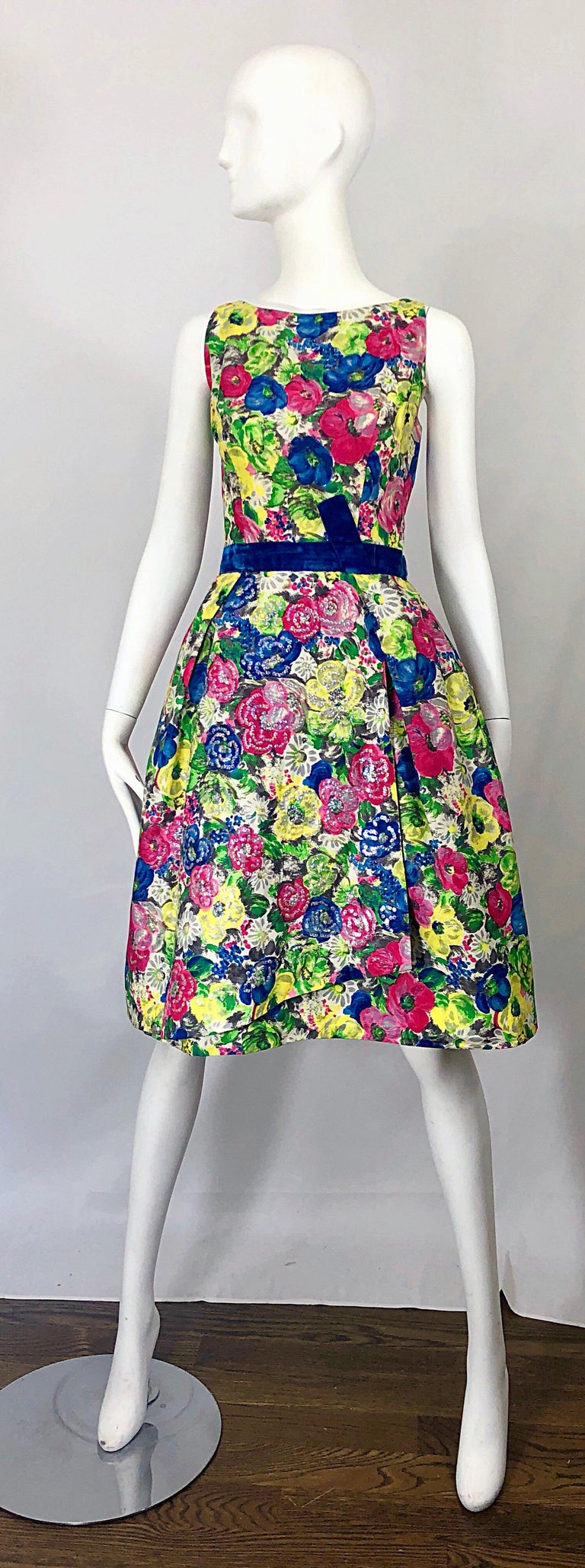 Gorgeous 50s demi couture sequined fit n' flare floral watercolor sequined silk dress! This is one of my personal favorite pieces, not only because it is so prettty, but because of the insane attention to detail with the construction of the dress.