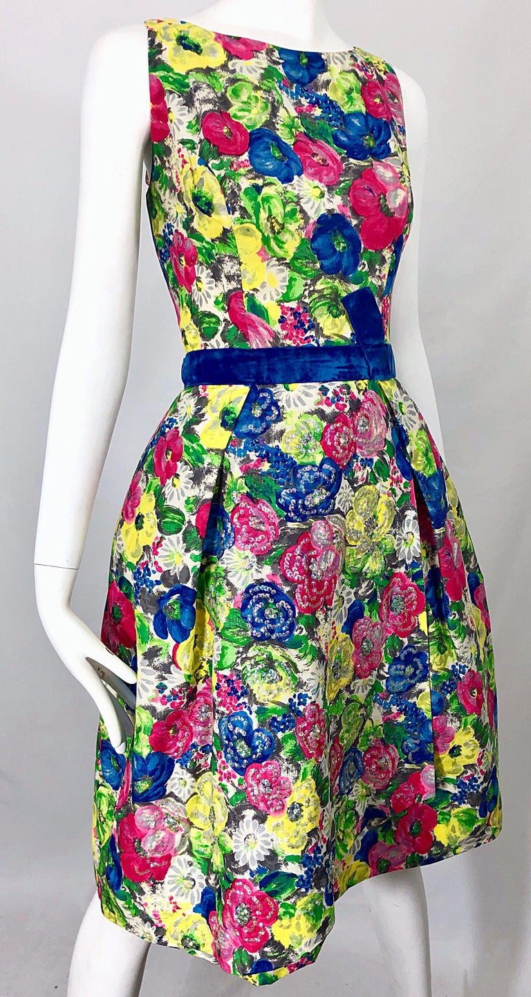 1950s Demi Couture Sequined Watercolor Floral Silk Fit n' Flare Vintage Dress For Sale 1