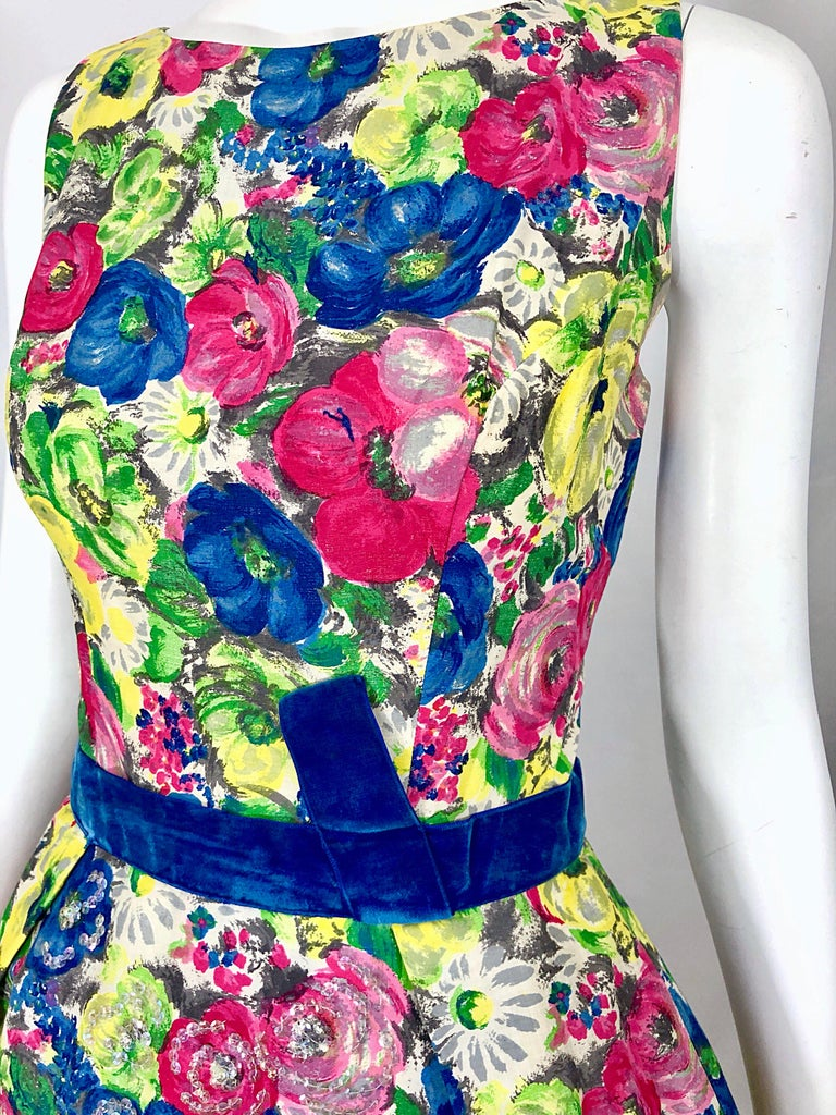 1950s Demi Couture Sequined Watercolor Floral Silk Fit n' Flare Vintage Dress For Sale 2