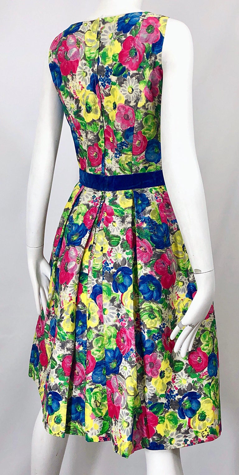 1950s Demi Couture Sequined Watercolor Floral Silk Fit n' Flare Vintage Dress For Sale 4