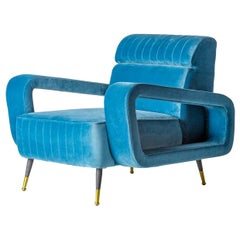 1950s Design and Vintage Style Blue Velvet and Black Feet Armchair