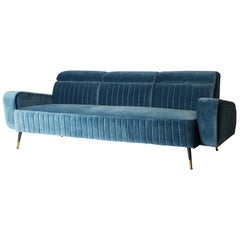1950s Design and Vintage Style Blue Velvet and Black Lacquered Feet Sofa