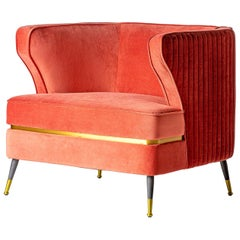 Vintage Style Pink Coral Velvet and Black Feet Padded Armchair