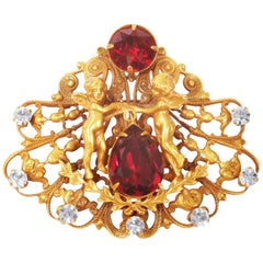 1950s Design Joseff Of Hollywood Antique Gold Cherub Brooch