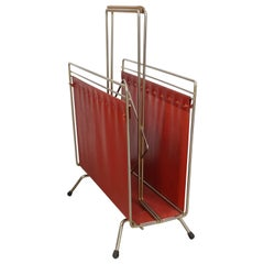 1950s Design Metal and Red Faux Leather Magazine Rack