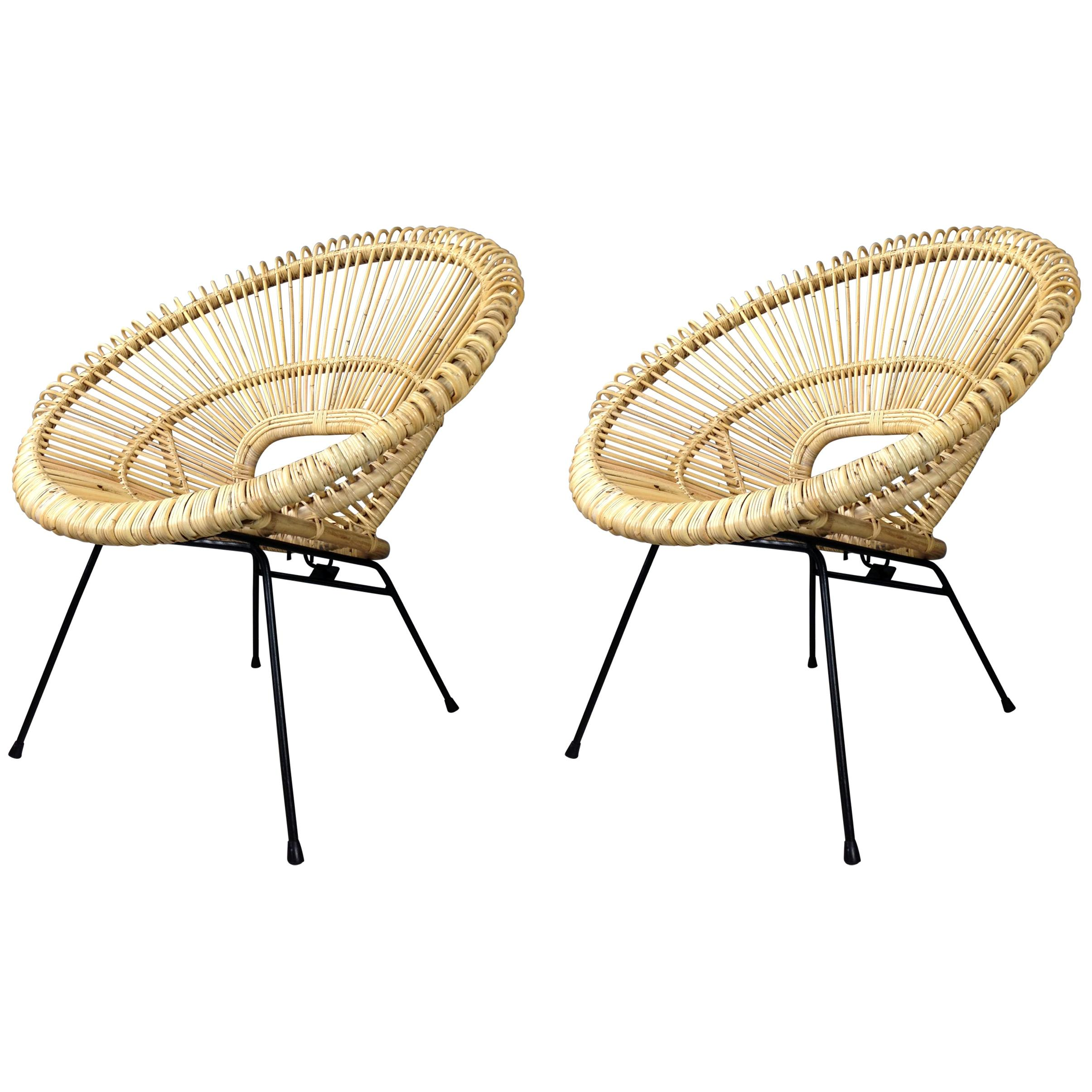 1950s Design Style Rattan and Black Metal Pair of Lounger Armchairs