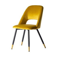 1950s Design Style Yellow Velvet Chair
