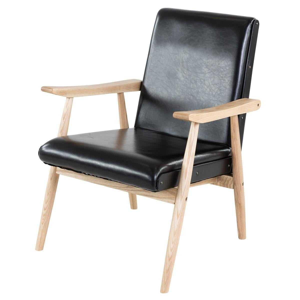 1950s Design Wooden and Black Faux Leather Armchair