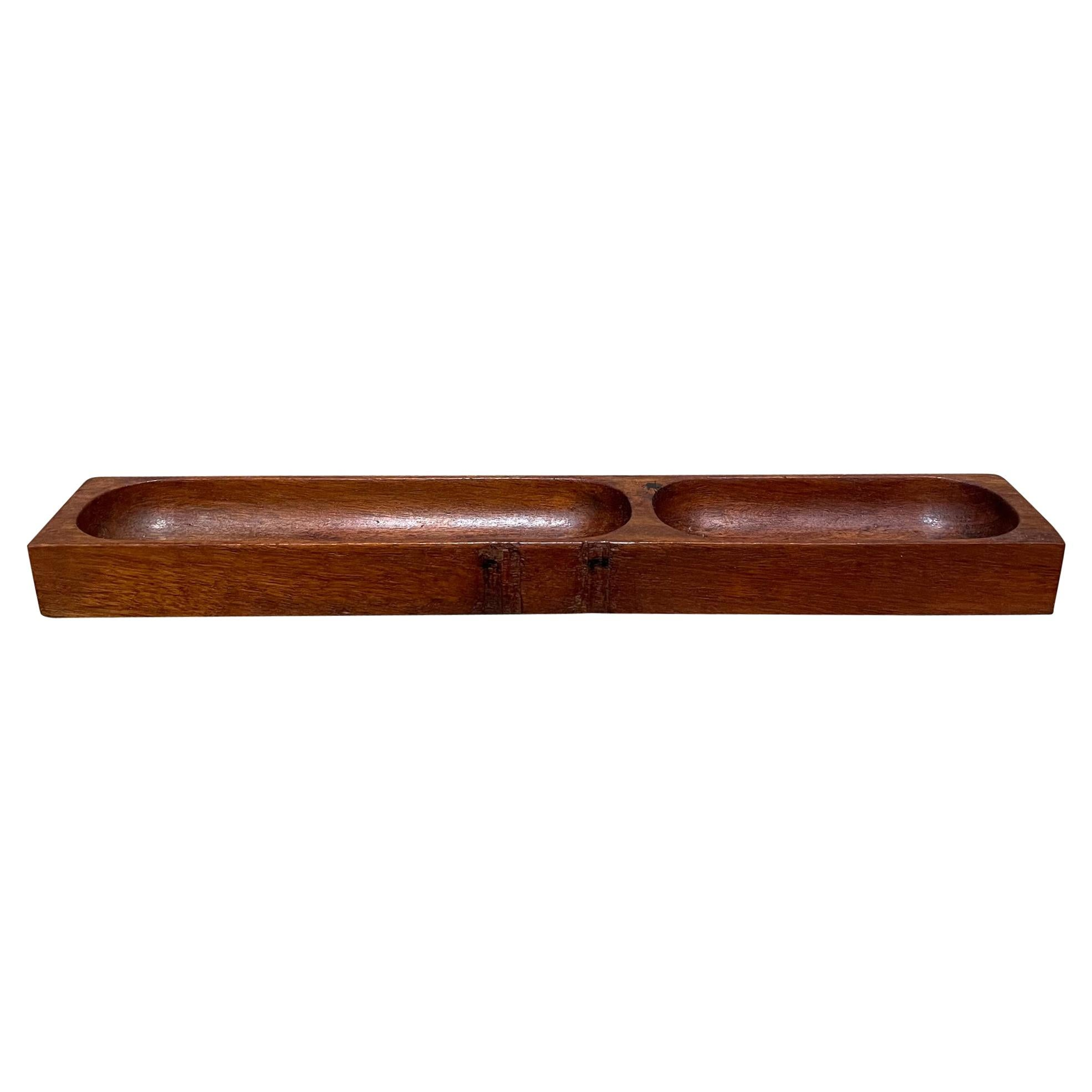 1950s Desk Organizer Accessory Tray in Solid Mahogany Wood Mexico City Modernism