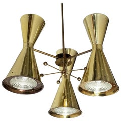 1950s Diabolo, Hourglass Pierced Brass-Plated Chandelier with Glass Lens