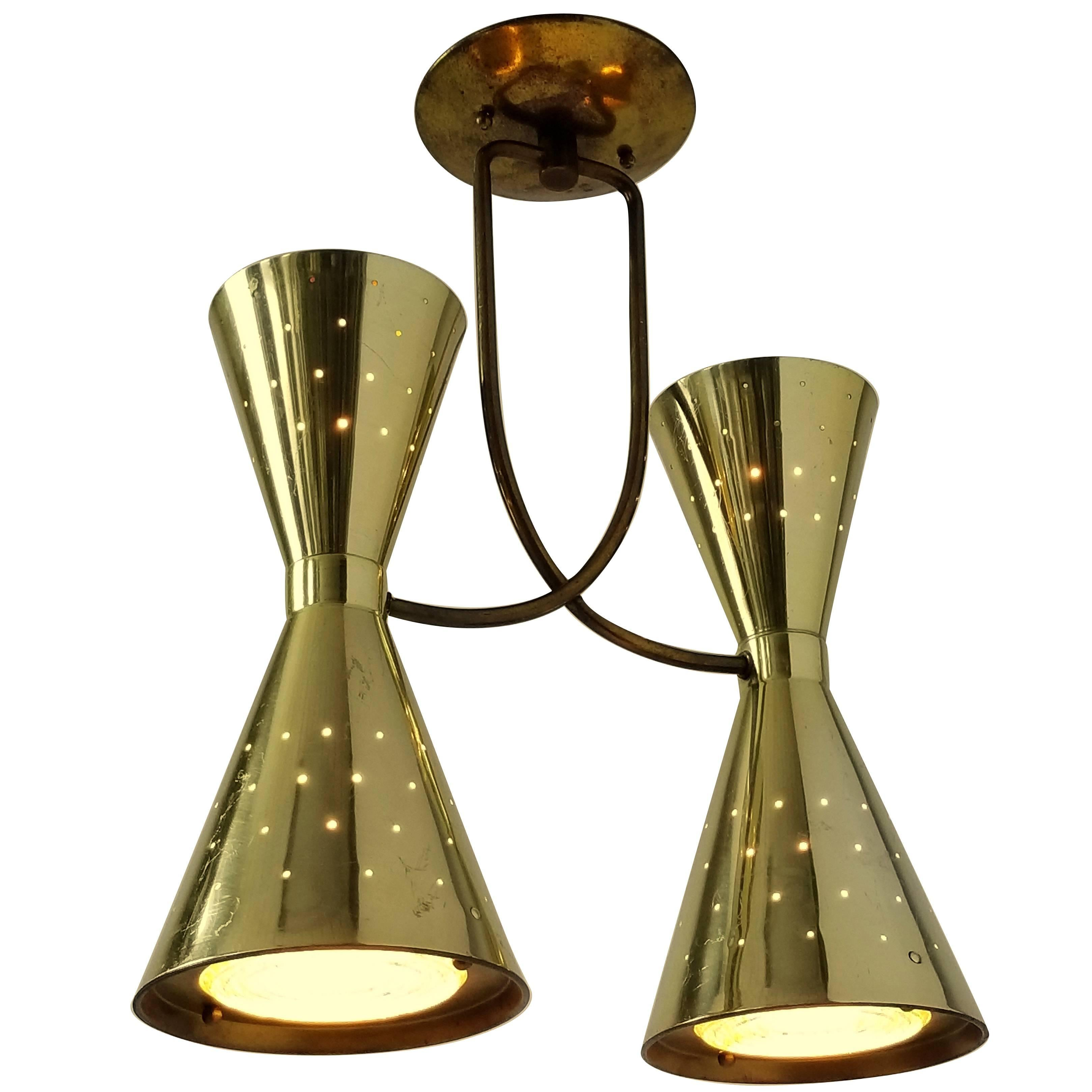 1950s Diabolo / Hourglass Brass-Plated Flush Mount from Electrolier