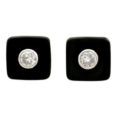 1950s Diamond and Black Onyx Platinum Stud Earrings