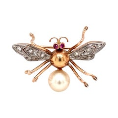 1950s Diamond and Pearl Bee Brooch Pin, 14 Karat Rose Gold and Platinum