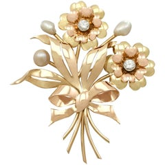 1950s Diamond and Pearl Yellow and Rose Gold Brooch