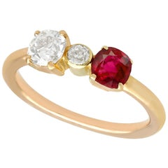 1950s Diamond and Ruby Yellow Gold Dress Ring
