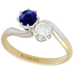 1950s Diamond and Sapphire Yellow Gold Twist Ring