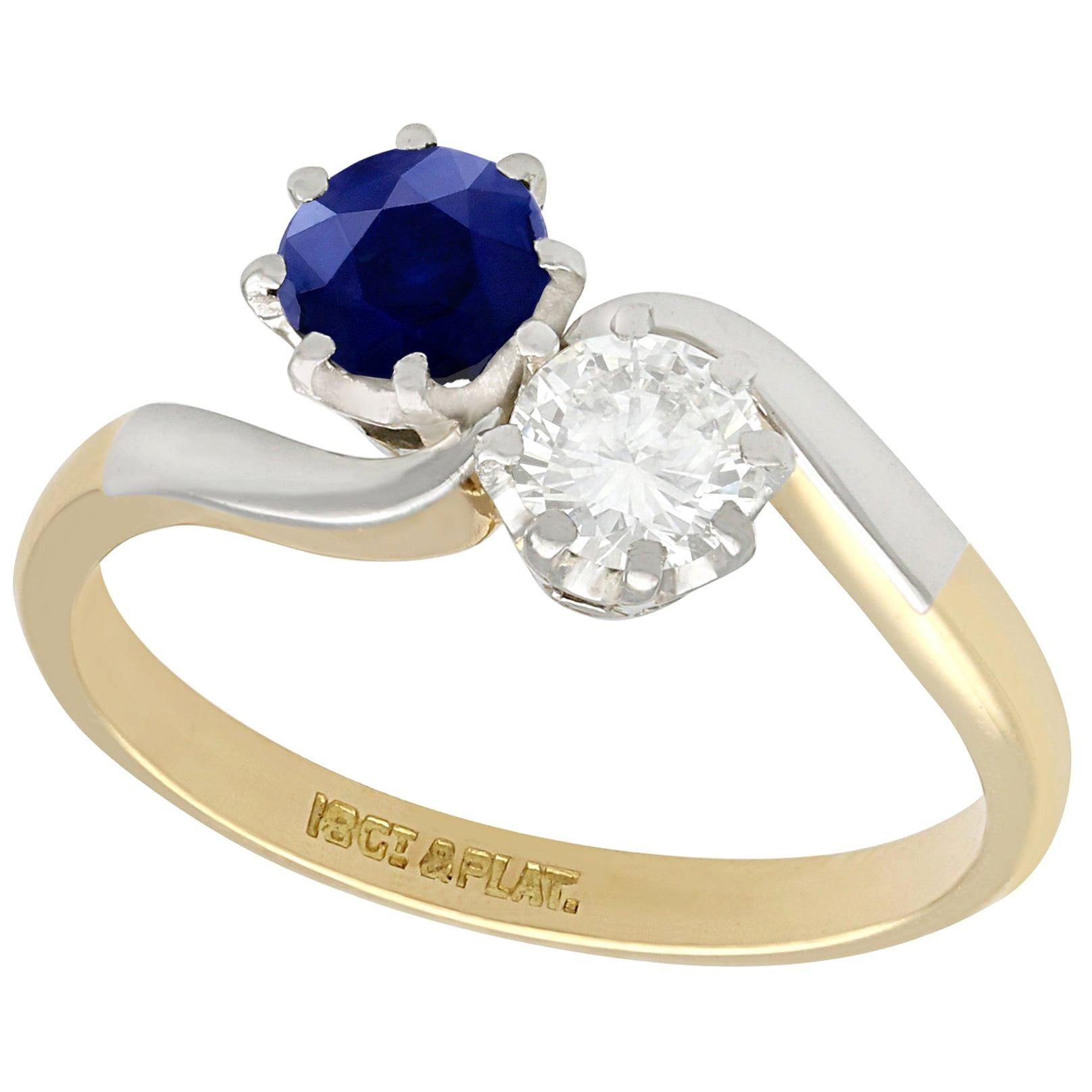 1950s Diamond and Sapphire Yellow Gold Twist Ring