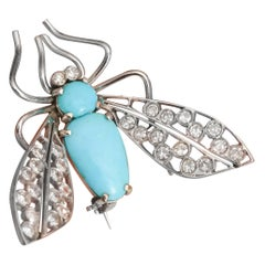 1950s Diamond and Turquoise Flying Insect Pin Brooch