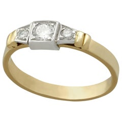 1950s Diamond and Yellow Gold Three Stone Ring