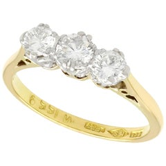 1950s Diamond and Yellow Gold Trilogy Ring