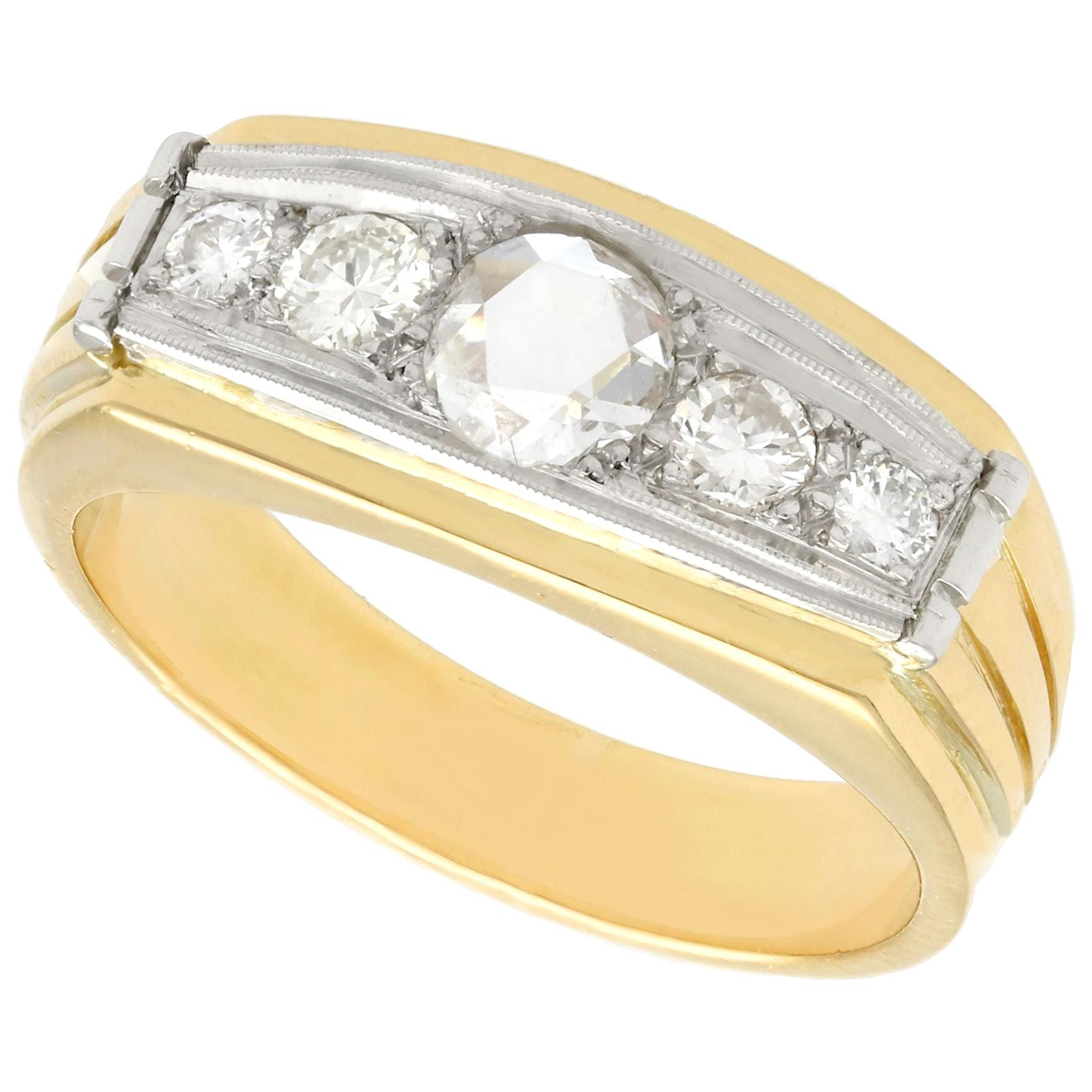 1950s Diamond and Yellow Gold White Gold Cocktail Ring