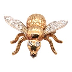 1950s Diamond Bee Brooch Pin in 18 Karat Yellow and White Gold