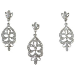 1950s Diamond Chandelier Earring and Necklace Set in 14 Karat White Gold