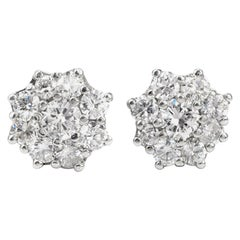 1950s Diamond Cluster Platinum Stud Earrings