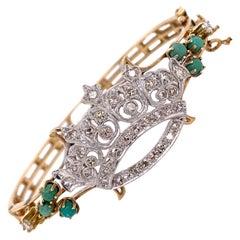 1950s Diamond Crown 14 Karat Yellow Gold Hinged Vintage Bangle Bracelet